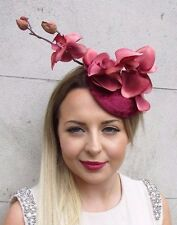 Burgundy Wine Red Velvet Orchid Flower Fascinator Hat Races Hair Clip Vtg 2789