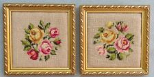 TWO Hand-sewn Needle Point Floral Rose Pictures In Ornate Gold Frames Mint