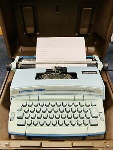 Smith Corona Electric Coronet Super 12 Baby Blue Typewriter Script Storage Case