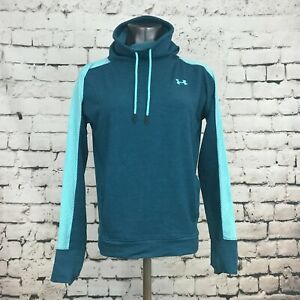 Under Armour Women's Pullover Shirt High Neck Thumbholes Loose Teal Size Small