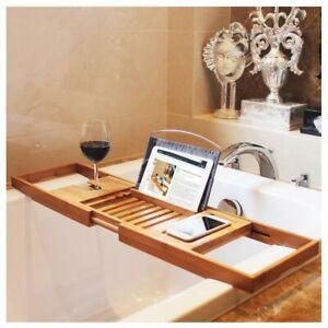 Bamboo Bath Shelf Extendable Caddy Wine Glass Holder Tray Over Bathtub Rack Spa