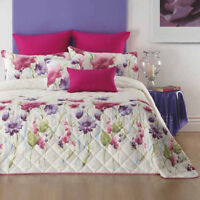 Anastacia Floral Bedspread by Bianca | Luxurious jacquard fabric | Pink piping