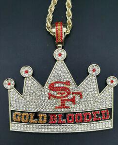 """San Francisco 49ers """"Gold blooded"""" V-Neck Necklace Pendant Souvenir - 60 Cm"""