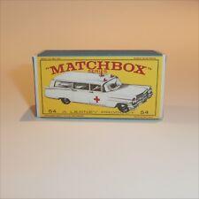 Matchbox Lesney 54 b Cadillac Ambulance Repro E style Empty Box