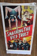 """Antique Vintage Large """"SMASHING le vice trust"""" FILM ORIGINAL Film Affiche"""