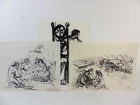 Rudolf Rothe: 3 Tuschearbeiten, Personen,Portraits, datiert 1977