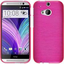 Coque en Silicone HTC One M8 - brushed rose chaud + films de protection