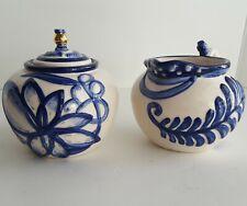 Blue Sky Ceramics Heather Goldminc Blue & White Sugar Creamer Art Pottery Set
