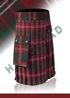 Black Utility Modern Kilt Front Side Leather Strap For Batter Adjustment