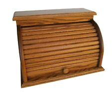 Bread Box Roll Top Amish Handcrafted Storage Solid Oak Bin Wooden