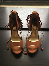 Charles David women wages suede shoes size 6,5 brown with stripes around ankle