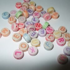 ALPHABET BEADS MIXED PASTEL COLOURED LETTERS 200-800 BEADS 7X4mm HOLE 2mm BD01