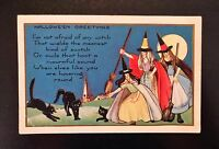 c. 1930's VINTAGE HALLOWEEN POSTCARD, Hallowe'en Greetings Witches Black Cats