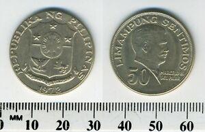 Philippines 1972 -  50 Sentimos Copper-Nickel-Zinc Coin - Marcelo H. del Pilar