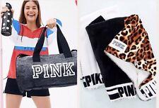 Victorias Secret Pink Sherpa Leopard Blanket duffle & Water Bottle Nwt So Soft!