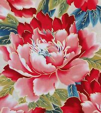 1/4YD SAKURA METALLIC LARGE ORIENTAL FLOWERS RED ROOSTER BEIGE FQ COTTON FABRIC