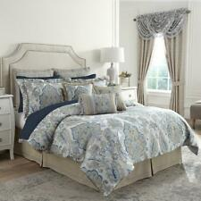 Croscill EMERY 4 PC kING COMFORTER SET Blue Ivory Taupe  $500 New