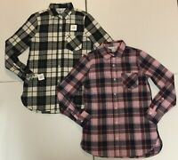 LOT of 2-NWT Old Navy Womens Relaxed Twill Tunic Shirts-Lilac & Black/White (XS)