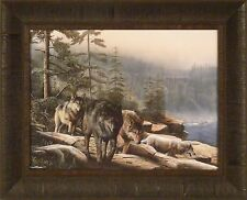STALKING THE BLUFFS by Kevin Daniel Wolf Wolves Rocks 17x21 FRAMED PRINT PICTURE