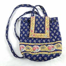 Vera Bradley Back Pack Retired Maison Blue Purse Handbag Drawstring Quilt Floral