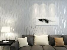 3x 33ft Home Bedroom Silver Luxury 3D Wave Flocking Wallpaper Rolls Wall Papers