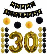 30th Birthday Party Decorations Kit,Happy Birthday Banner,30th Gold Number For