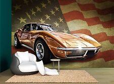 Sports American Flag Classic Car Wall Mural Photo Wallpaper GIANT WALL DECOR