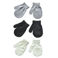 Baby Kids Boys Girls Winter Warm Gloves Soft Solid Knitted Thickened Mittens VM