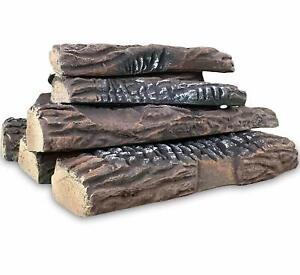 Regal Flame 10 PC Ceramic Propane Gel Ethanol Gas Fireplace Fire Pit Logs Oak