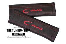 """2x Pastiglie Coperture cinture in pelle nera """"C-MAX"""" ricamo Rosso per Ford"""