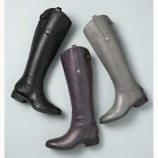 AU Womens Knee High Boots Warm Martin Combat Boot Low Heel Button Shoes Military