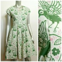 Retrolicious ModCloth Dress M W/Pockets Green Pink Birds Floral A Line Pinup