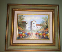 Vintage Oil on Canvas painting Flower Market in Village Signed