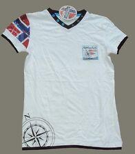 super Nebulus Damen Shirt V-Ausschnitt  weiß mit vielen Patches Gr. M