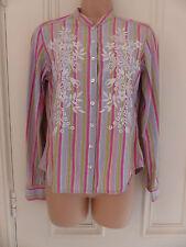 Boden UK 10 pastel striped mandarin collar long sleeved shirt white embroidery