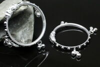Real Silver Baby Toddler Bangles Bracelet Elephant Face with Jingle Bells - Pair