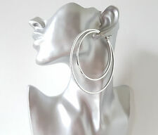 Gorgeous 9cm DOUBLE SILVER TONE thin square tube BIG glitter edge hoop earrings