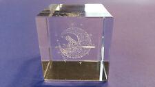Kristallwürfel Glaswürfel Crystal mit Hologram Laser 3D Figur mit Mond und Stern