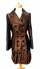 Burberry London Metallic Brown Fishtail Double Breasted Trench Coat UK 8 USA 6
