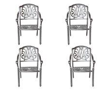 Patio dining chairs 4 Elisabeth outdoor cast aluminum furniture Sunbrella cushio