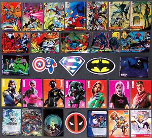 Super Hero Card Sticker Lot, Rare, Odd, Unique, Marvel Comics DC, Fortnite Cards