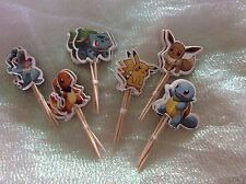 Pokemon Cake Picks / Flags Party Cupcake Decorations X 12 STYLE A
