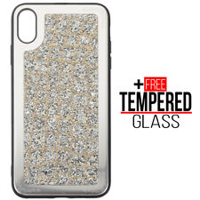 Voor iPhone XS Max Bling Glitter Sparkly Silicone Case Shockproof Cover Zilver