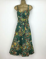 Marks and Spencer Dress Size 14 Green Floral Skater Midi Summer Holiday Cotton