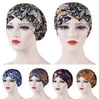 Women Indian Muslim Beanie Turban Hat Flower Print Head Scarf Wrap Chemo Cap New
