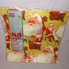 Vintage Santa Christmas Wrap Wrapping Paper 2 Sheets New Old Stock Tuttle Press