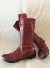 EOS Red Mid Calf Leather Boots Size 39