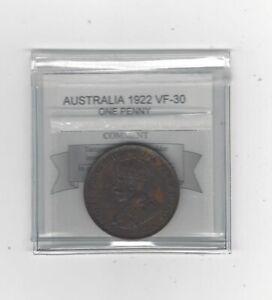 1922 Australia ,One Penny, Coin Mart Graded **VF-30**KM# 23