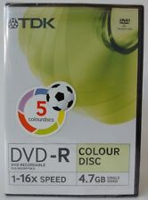 5 x TDK DVD-R Colour Blank Discs with Cases 4.7GB Single-Sided