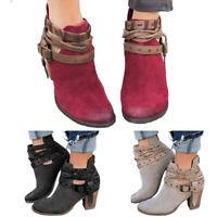Womens Short Ankle Boots Mid Heel Winter Rivet Snow Botas Warm Boots Shoes #CA